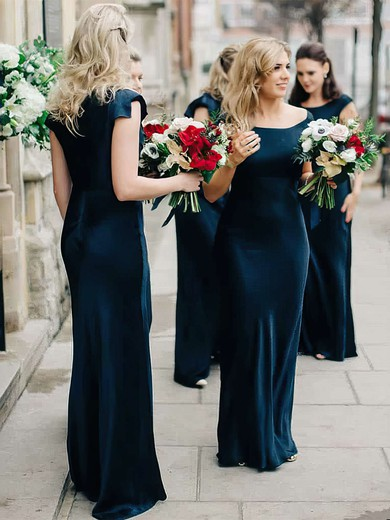 Silk-like Satin Square Neckline Floor-length Sheath/Column Bridesmaid Dresses #PWD01013634