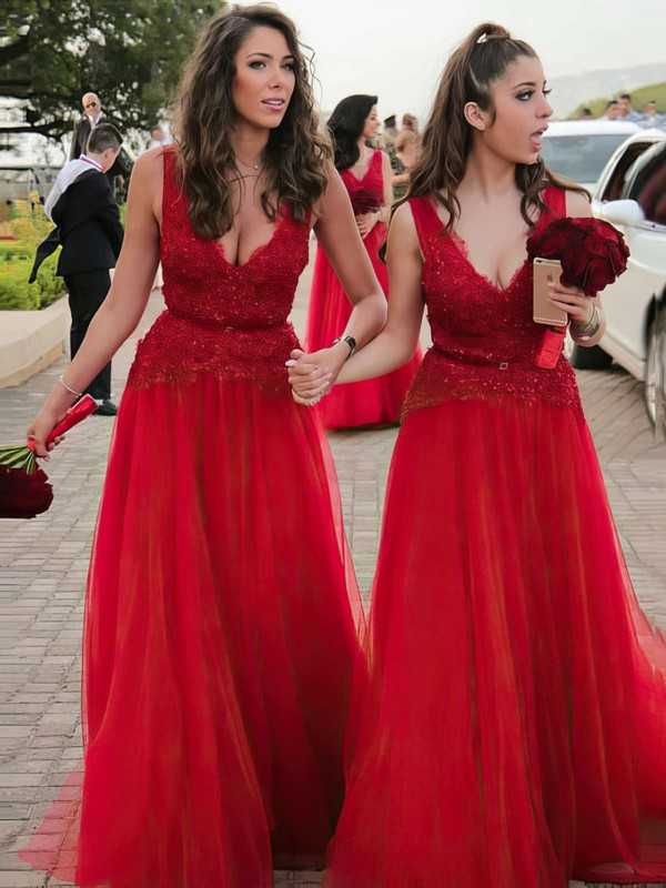 Tulle V-neck Floor-length A-line Lace Bridesmaid Dresses #PWD01013636