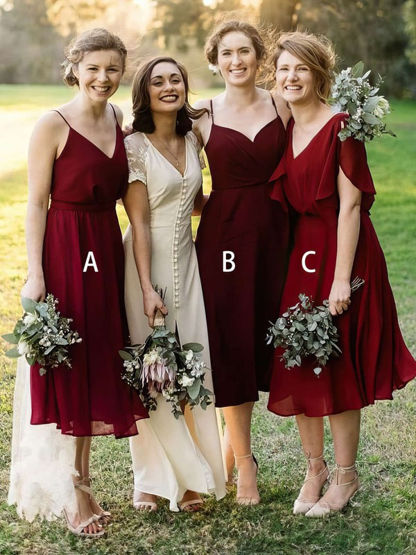 Chiffon V-neck Tea-length A-line Bridesmaid Dresses #PWD01013637