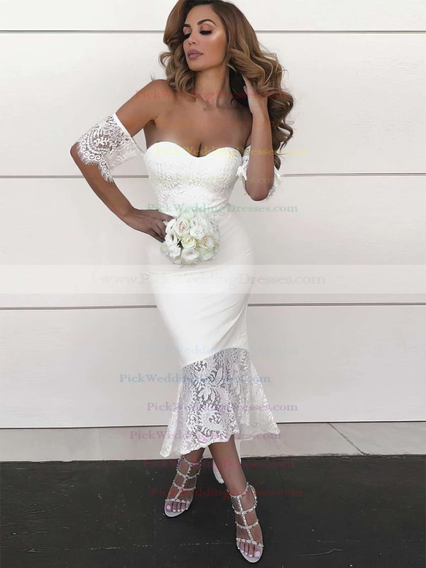 Silk-like Satin Off-the-shoulder Asymmetrical Trumpet/Mermaid Lace Bridesmaid Dresses #PWD01013638