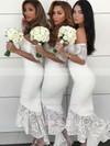 Silk-like Satin Off-the-shoulder Asymmetrical Trumpet/Mermaid Lace Bridesmaid Dresses #PWD01013638