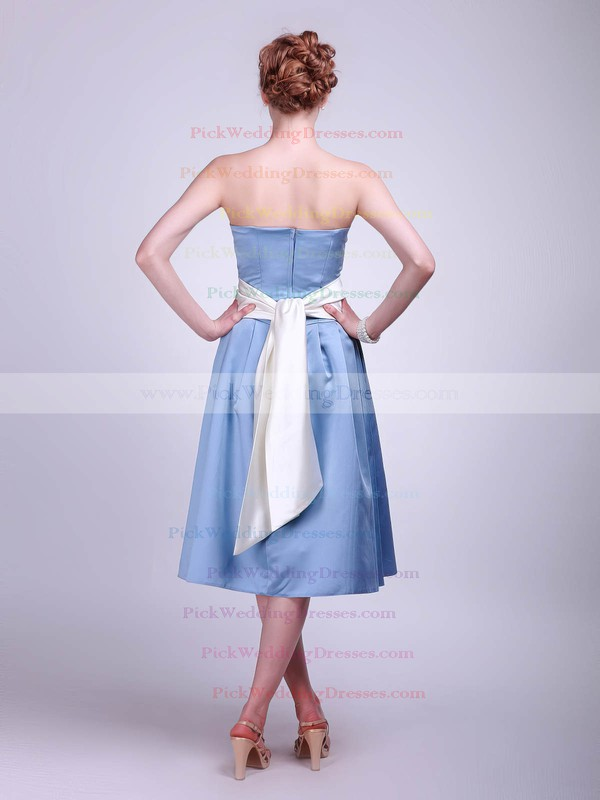 A-line Tea-length Satin Sashes/Ribbons Strapless Bridesmaid Dresses #PWD02013624