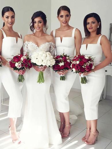 Silk-like Satin Square Neckline Tea-length Sheath/Column Bridesmaid Dresses #PWD01013640