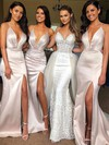 Satin V-neck Sweep Train Trumpet/Mermaid Split Front Bridesmaid Dresses #PWD01013641