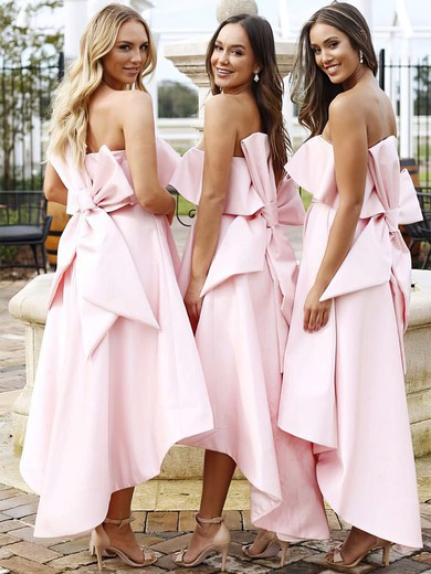 Satin Strapless Asymmetrical A-line Bow Bridesmaid Dresses #PWD01013642