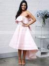 Satin Strapless Asymmetrical A-line Bow Bridesmaid Dresses #PWD01013642