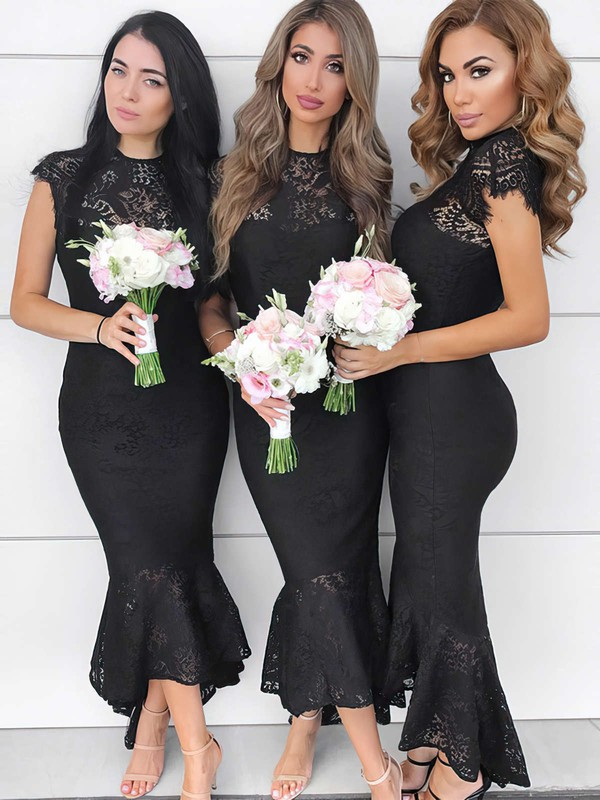 Lace High Neck Asymmetrical Trumpet/Mermaid Bridesmaid Dresses #PWD01013643