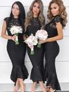 Lace High Neck Asymmetrical Trumpet/Mermaid Bridesmaid Dresses #PWD01013643