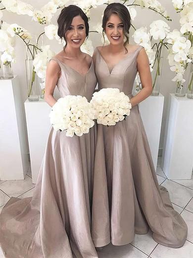 Silk-like Satin V-neck Sweep Train A-line Bridesmaid Dresses #PWD01013647
