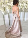 Silk-like Satin V-neck Sweep Train A-line Bridesmaid Dresses #PWD01013647