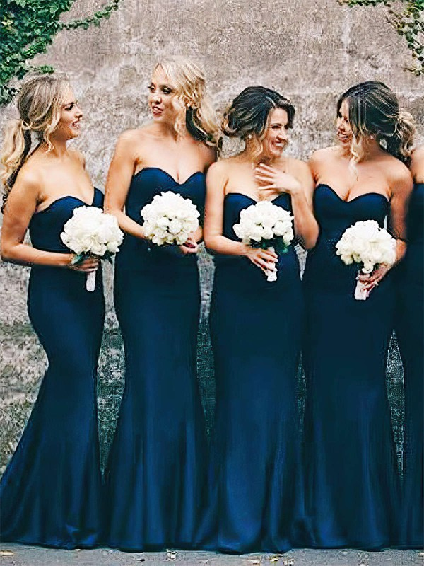 Silk-like Satin Sweetheart Floor-length Trumpet/Mermaid Bridesmaid Dresses #PWD01013648