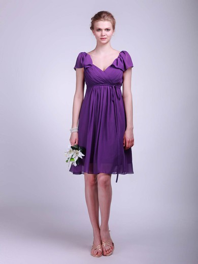 A-line Knee-length Chiffon Sashes/Ribbons V-neck Bridesmaid Dresses #PWD02013627