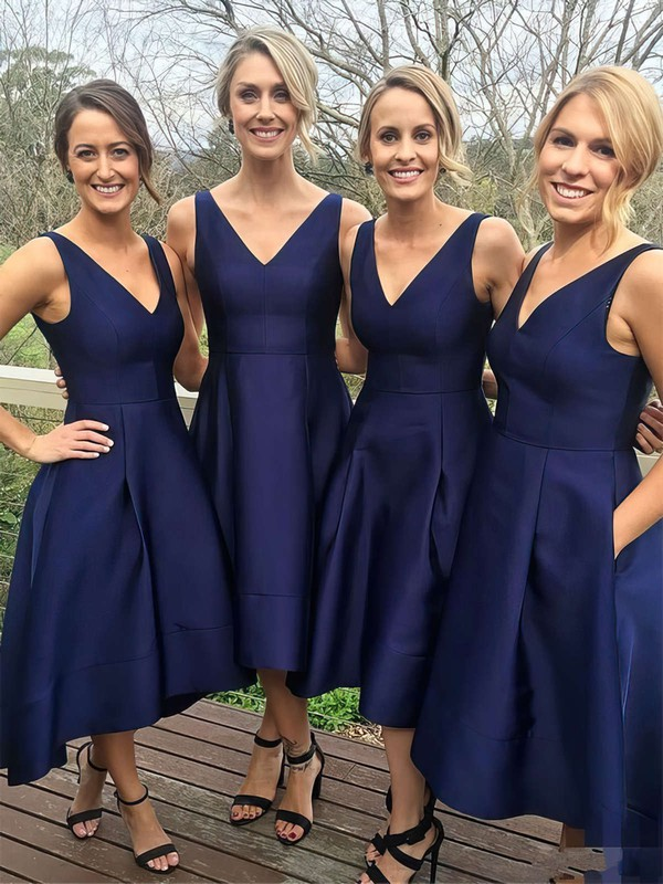 Satin V-neck Tea-length Princess Pockets Bridesmaid Dresses #PWD01013652