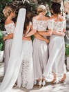 Chiffon Off-the-shoulder Ankle-length A-line Lace Bridesmaid Dresses #PWD01013653