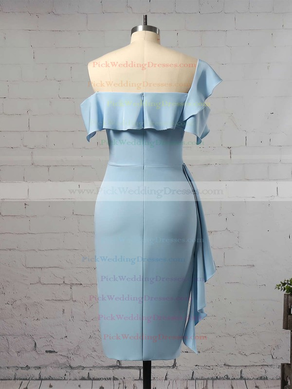 Silk-like Satin One Shoulder Tea-length Sheath/Column Ruffles Bridesmaid Dresses #PWD01013657