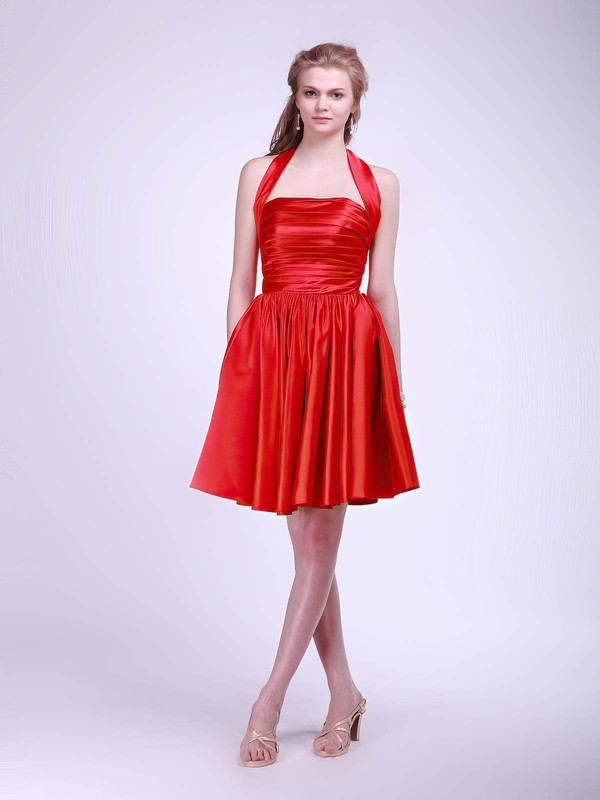 Ball Gown Short/Mini Satin Pleats Halter Bridesmaid Dresses #PWD02013628