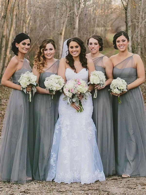 Tulle One Shoulder Floor-length A-line Bridesmaid Dresses #PWD01013660