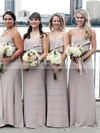 Chiffon Scoop Neck Sweep Train A-line Ruffles Bridesmaid Dresses #PWD01013661