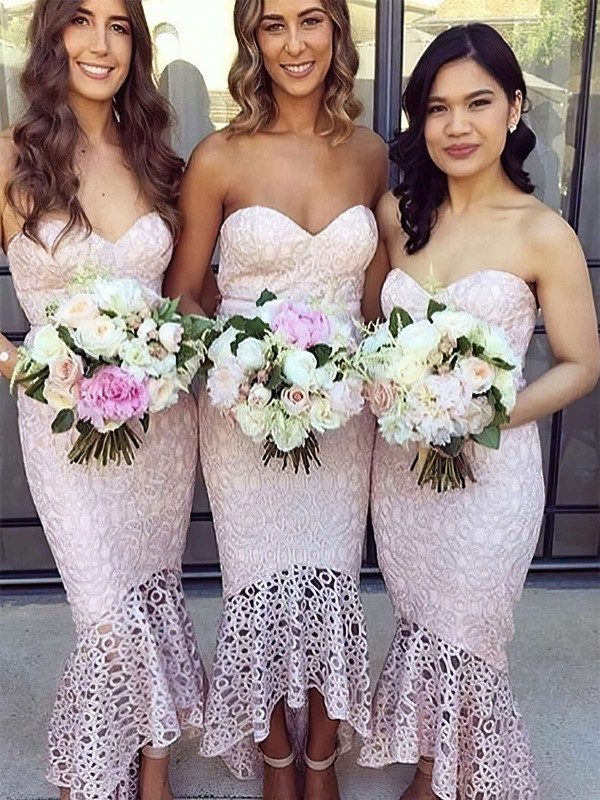 Lace Sweetheart Asymmetrical Trumpet/Mermaid Bridesmaid Dresses #PWD01013663