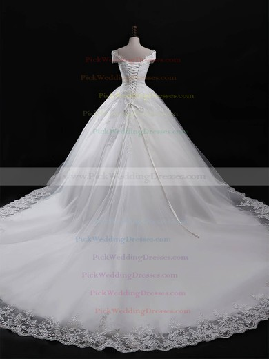 Tulle V-neck Chapel Train Ball Gown Appliques Lace Wedding Dresses #PWD00023321