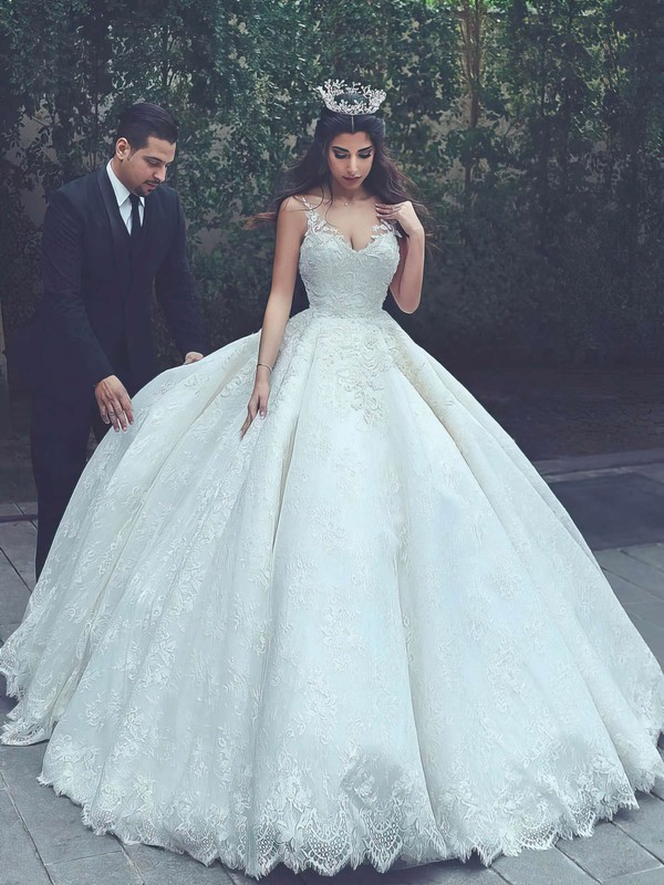 Lace Satin V-neck Floor-length Ball Gown Appliques Lace Wedding Dresses #PWD00023322