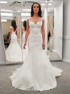 Lace Satin V-neck Sweep Train Trumpet/Mermaid Appliques Lace Wedding Dresses #PWD00023323