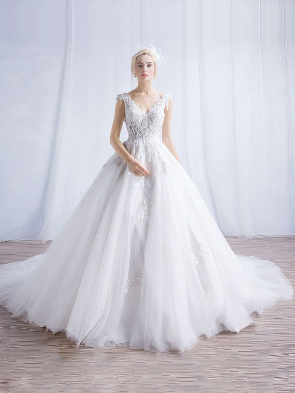 Tulle V-neck Chapel Train Ball Gown Appliques Lace Wedding Dresses #PWD00023324