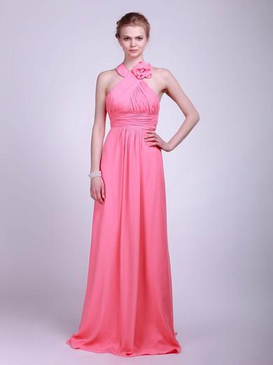 Empire Floor-length Chiffon Flower(s) Halter Bridesmaid Dresses #PWD02013629