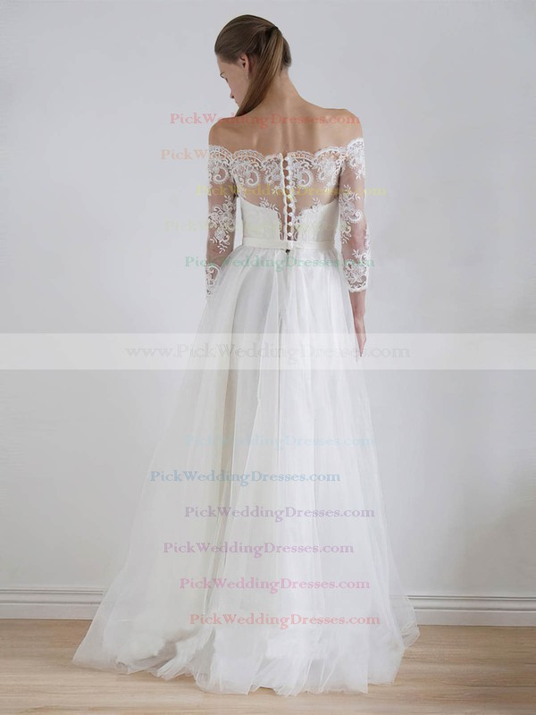 Tulle Off-the-shoulder Floor-length A-line Lace Wedding Dresses #PWD00023325