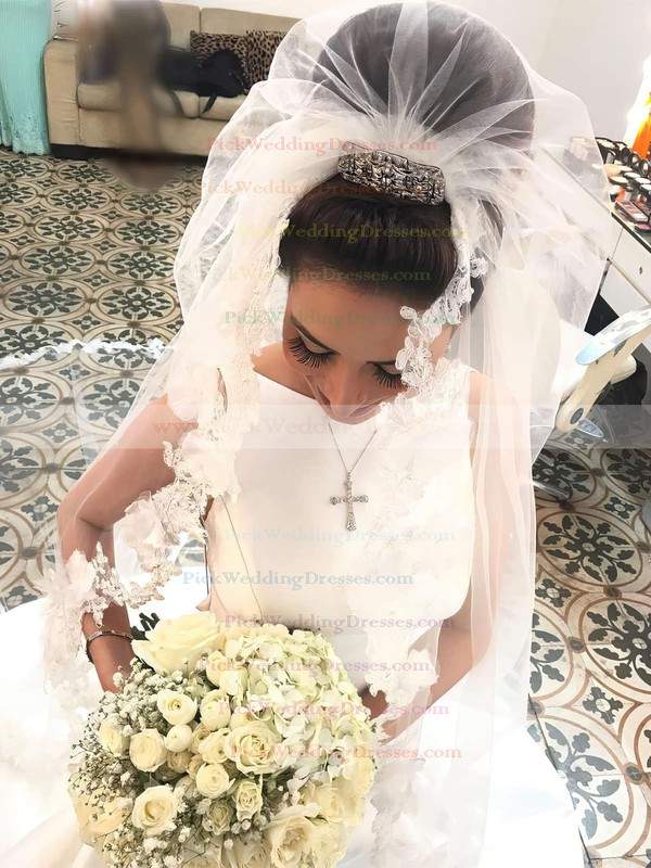 Satin Scoop Neck Sweep Train Trumpet/Mermaid Wedding Dresses #PWD00023326