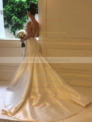 Satin Scoop Neck Sweep Train Trumpet/Mermaid Wedding Dresses #PWD00023326