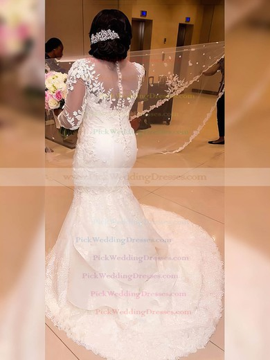 Tulle Scoop Neck Sweep Train Trumpet/Mermaid Appliques Lace Wedding Dresses #PWD00023327