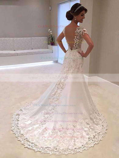 Satin Tulle V-neck Sweep Train Trumpet/Mermaid Beading Wedding Dresses #PWD00023328