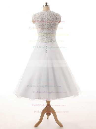Tulle Scoop Neck Tea-length Princess Lace Wedding Dresses #PWD00023329