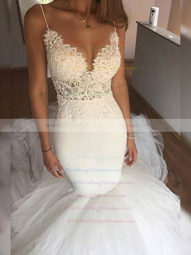 Tulle V-neck Chapel Train Trumpet/Mermaid Appliques Lace Wedding Dresses #PWD00023331