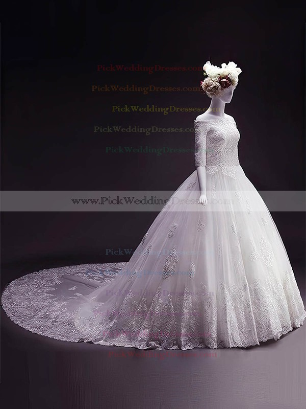 Tulle Off-the-shoulder Chapel Train Ball Gown Appliques Lace Wedding Dresses #PWD00023332