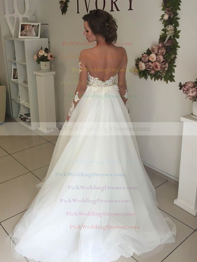 Tulle Scoop Neck Sweep Train Ball Gown Appliques Lace Wedding Dresses #PWD00023333