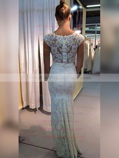 Lace V-neck Floor-length Sheath/Column Appliques Lace Wedding Dresses #PWD00023334