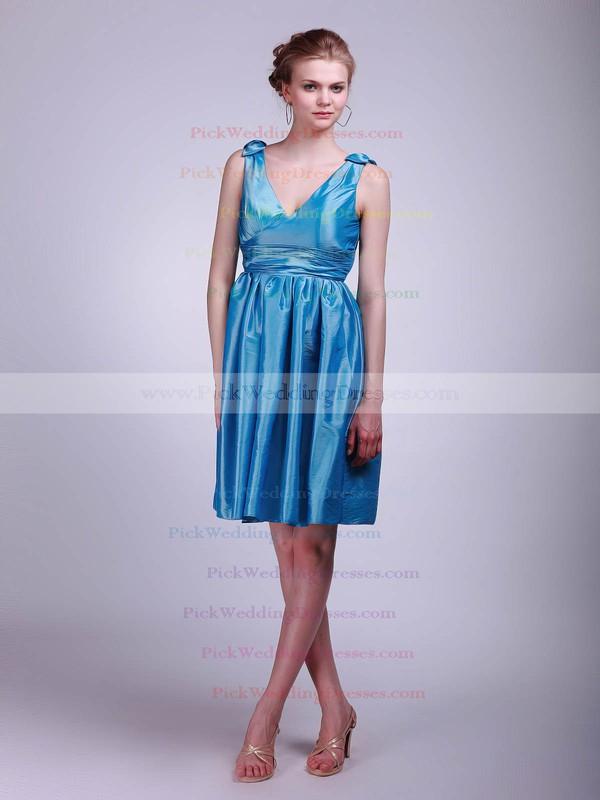 A-line Short/Mini Taffeta Pleats V-neck Bridesmaid Dresses #PWD02013631