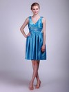 A-line Short/Mini Taffeta Pleats V-neck Bridesmaid Dresses #PWD02013631