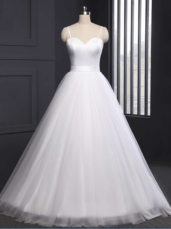Tulle Sweetheart Sweep Train Ball Gown Sashes / Ribbons Wedding Dresses #PWD00023335