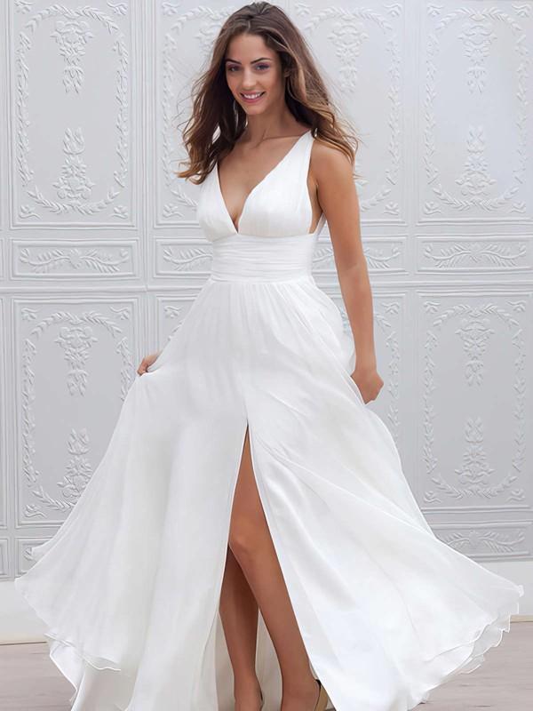 Chiffon V-neck Floor-length Empire Ruffles Wedding Dresses #PWD00023336