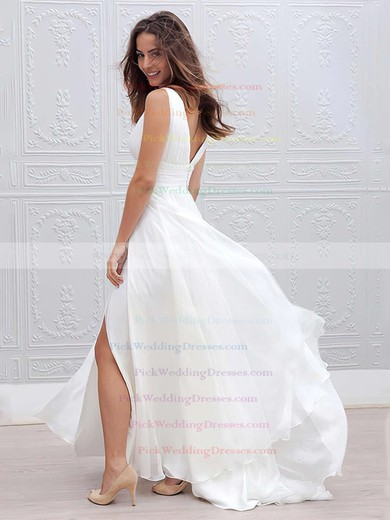 Chiffon V-neck Floor-length Empire Ruffles Wedding Dresses #PWD00023336