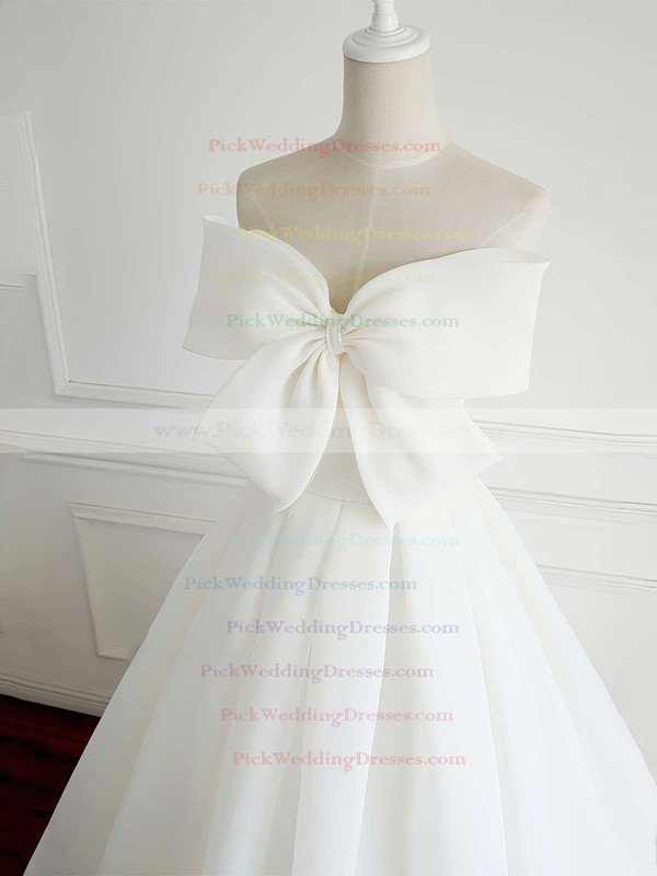 Organza Strapless Floor-length Ball Gown Bow Wedding Dresses #PWD00023337