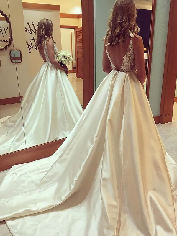 Satin Tulle Scoop Neck Court Train Ball Gown Appliques Lace Wedding Dresses #PWD00023338