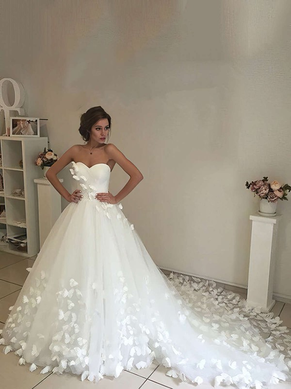Tulle Sweetheart Chapel Train Ball Gown Flower(s) Wedding Dresses #PWD00023339