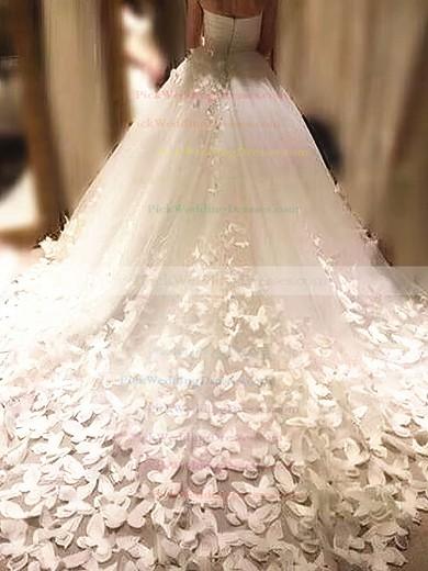 Tulle Sweetheart Chapel Train Ball Gown Flower(s) Wedding Dresses #PWD00023339