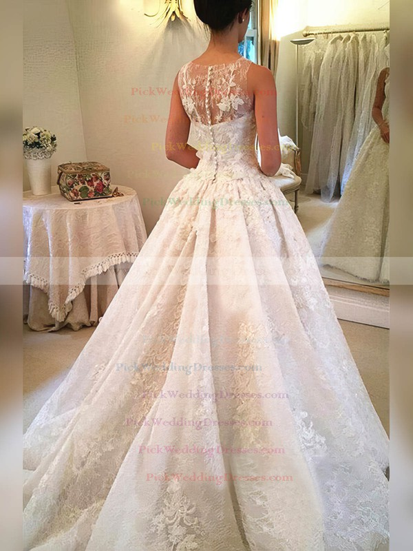 Lace Scoop Neck Court Train Ball Gown Appliques Lace Wedding Dresses #PWD00023341
