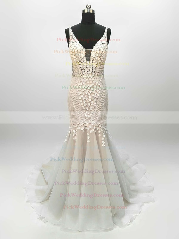Tulle V-neck Sweep Train Trumpet/Mermaid Lace Wedding Dresses #PWD00023342