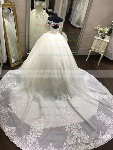 Organza Off-the-shoulder Chapel Train Ball Gown Appliques Lace Wedding Dresses #PWD00023343